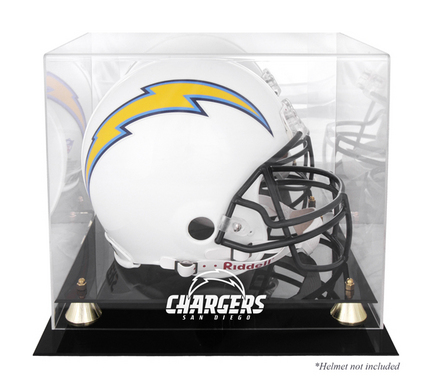 Golden Classic Football Helmet Display Case with San Diego Chargers Logo