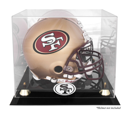 Golden Classic Football Helmet Display Case with San Francisco 49ers Logo