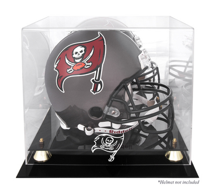 Golden Classic Football Helmet Display Case with Tampa Bay Buccaneers Logo