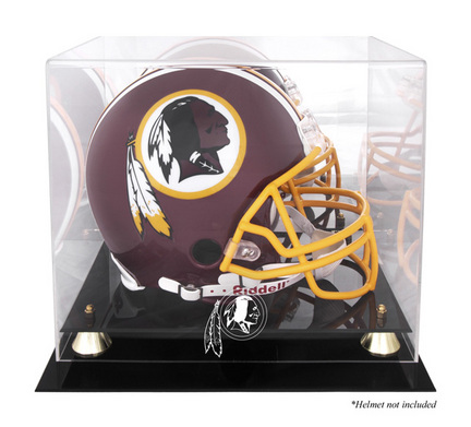 Golden Classic Football Helmet Display Case with Washington Redskins Logo