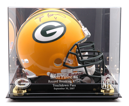 Golden Classic Full Size Helmet Display Case with Green Bay Packers / Touch Down Record Logo