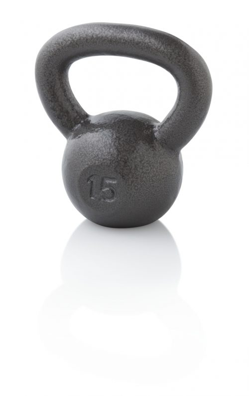 Golds Gym WGGKB1513 15 lbs Cast Iron Kettlebell Gray