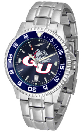 Gonzaga Bulldogs Competitor AnoChrome Men's Watch with Steel Band and Colored Bezel