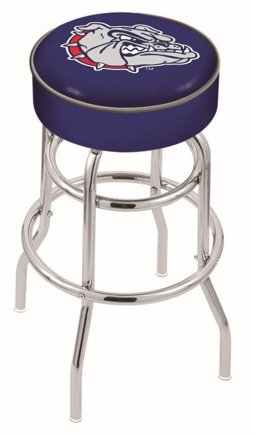 "Gonzaga Bulldogs (L7C1) 25"" Tall Logo Bar Stool by Holland Bar Stool Company (with Double Ring Swivel Chrome Base)"
