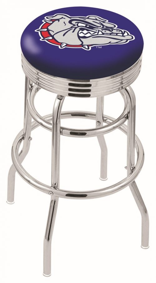 "Gonzaga Bulldogs (L7C3C) 25"" Tall Logo Bar Stool by Holland Bar Stool Company (with Double Ring Swivel Chrome Base)"