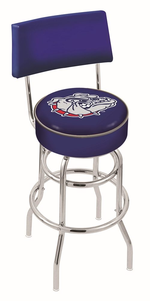 "Gonzaga Bulldogs (L7C4) 30"" Tall Logo Bar Stool by Holland Bar Stool Company (with Double Ring Swivel Chrome Base and Chair Seat Back)"