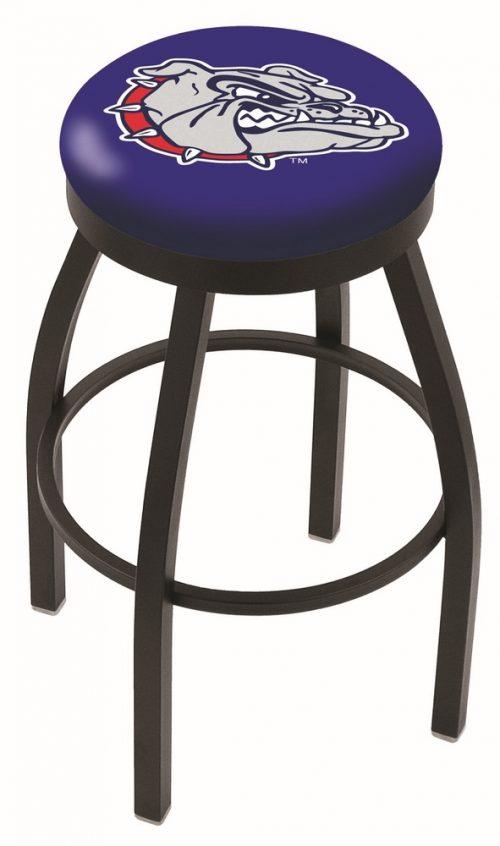 "Gonzaga Bulldogs (L8B2B) 25"" Tall Logo Bar Stool by Holland Bar Stool Company (with Single Ring Swivel Black Solid Welded Base)"