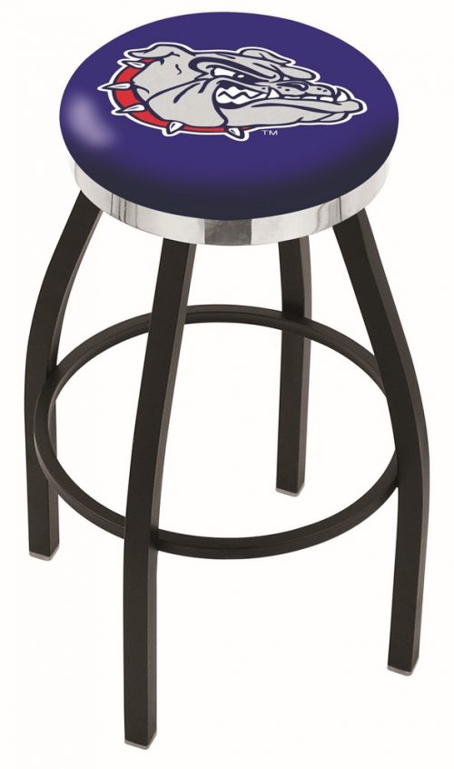 "Gonzaga Bulldogs (L8B2C) 25"" Tall Logo Bar Stool by Holland Bar Stool Company (with Single Ring Swivel Black Solid Welded Base)"