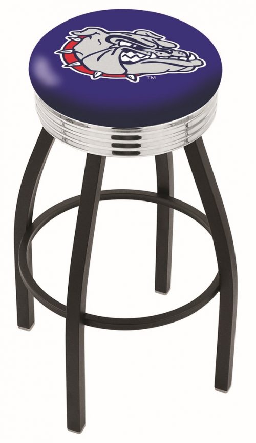 "Gonzaga Bulldogs (L8B3C) 25"" Tall Logo Bar Stool by Holland Bar Stool Company (with Single Ring Swivel Black Solid Welded Base)"