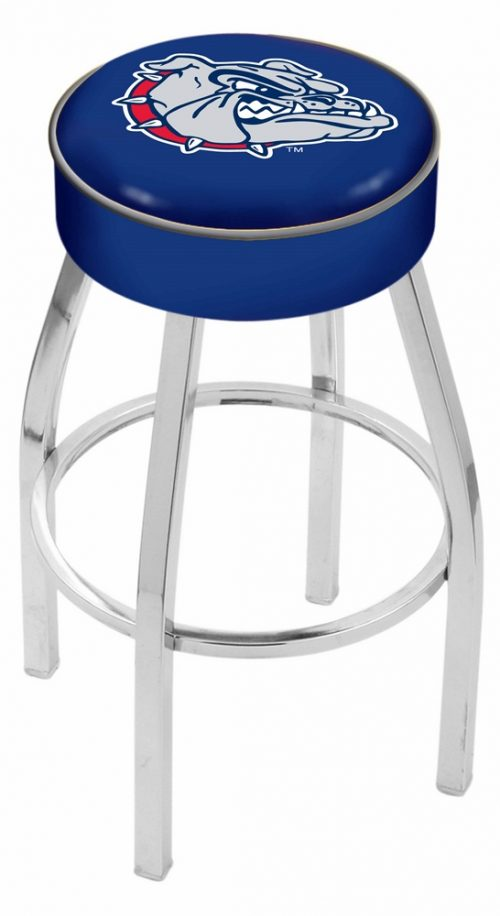 "Gonzaga Bulldogs (L8C1) 25"" Tall Logo Bar Stool by Holland Bar Stool Company (with Single Ring Swivel Chrome Solid Welded Base)"