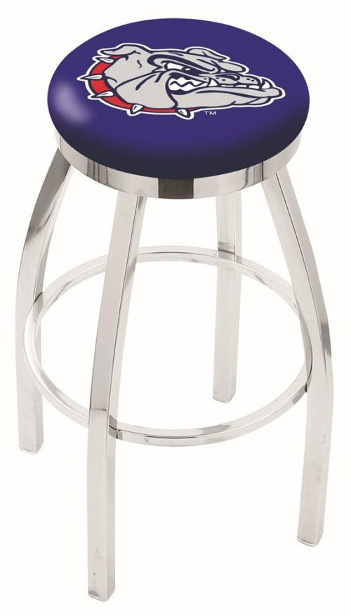 "Gonzaga Bulldogs (L8C2C) 30"" Tall Logo Bar Stool by Holland Bar Stool Company (with Single Ring Swivel Chrome Solid Welded Base)"