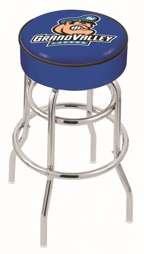 "Grand Valley State Lakers (L7C1) 25"" Tall Logo Bar Stool by Holland Bar Stool Company (with Double Ring Swivel Chrome Base)"