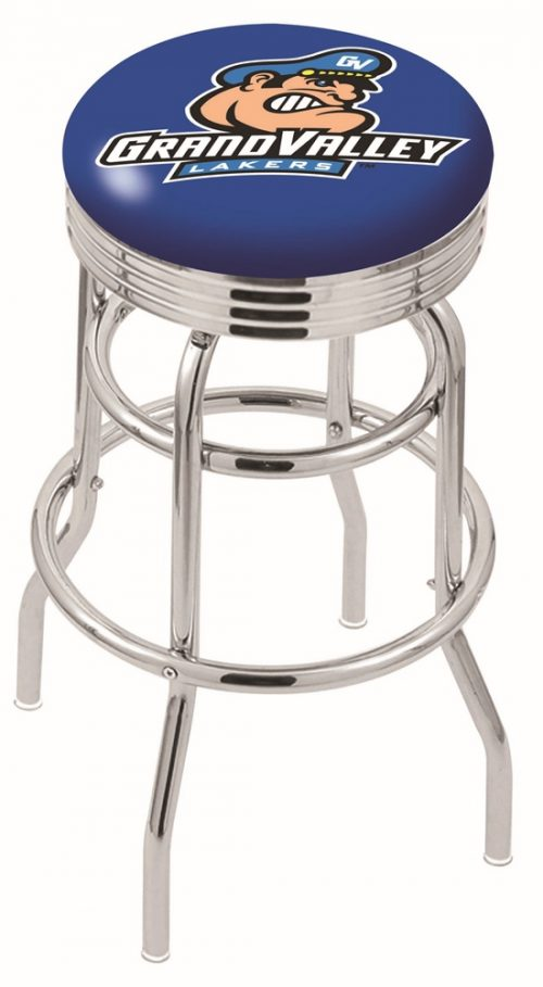 """Grand Valley State Lakers (L7C3C) 30"""" Tall Logo Bar Stool by Holland Bar Stool Company (with Double Ring Swivel Chrome Base)"""
