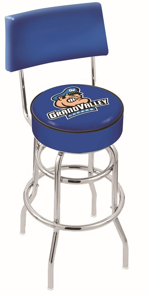 "Grand Valley State Lakers (L7C4) 30"" Tall Logo Bar Stool by Holland Bar Stool Company (with Double Ring Swivel Chrome Base and Chair Seat Back)"