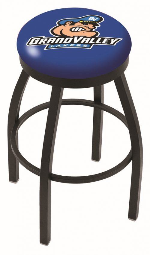 "Grand Valley State Lakers (L8B2B) 30"" Tall Logo Bar Stool by Holland Bar Stool Company (with Single Ring Swivel Black Solid Welded Base)"