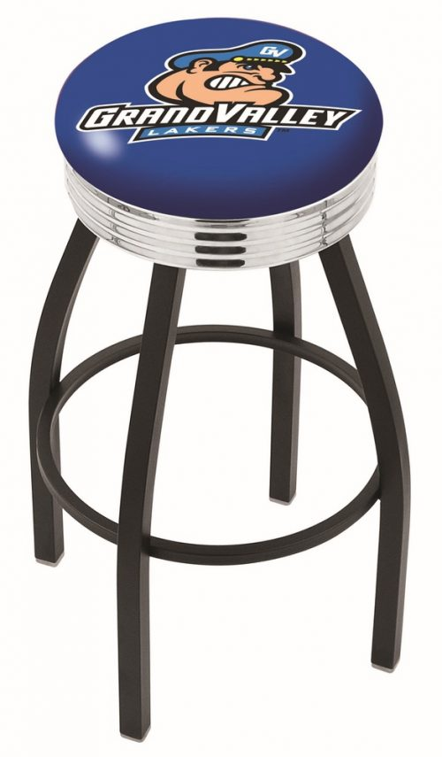 "Grand Valley State Lakers (L8B3C) 25"" Tall Logo Bar Stool by Holland Bar Stool Company (with Single Ring Swivel Black Solid Welded Base)"