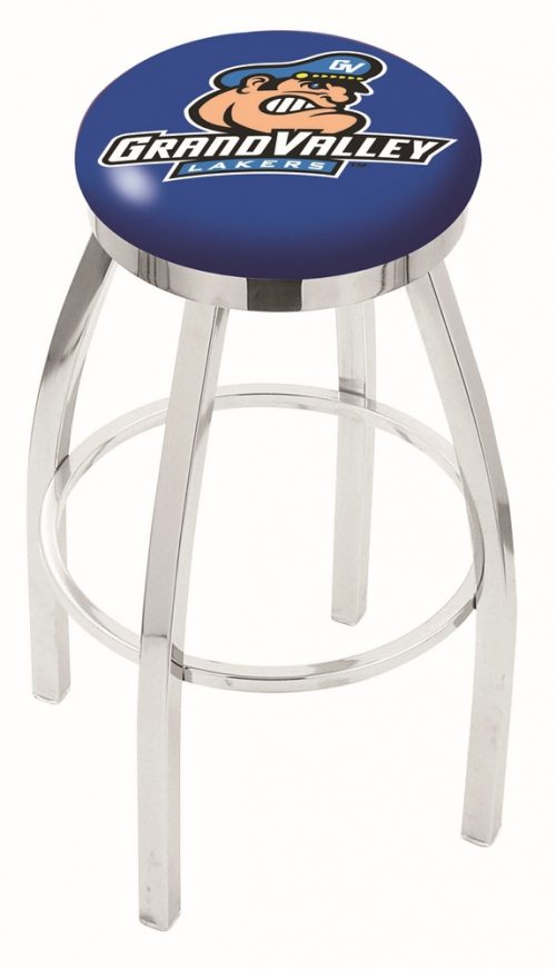 "Grand Valley State Lakers (L8C2C) 30"" Tall Logo Bar Stool by Holland Bar Stool Company (with Single Ring Swivel Chrome Solid Welded Base)"