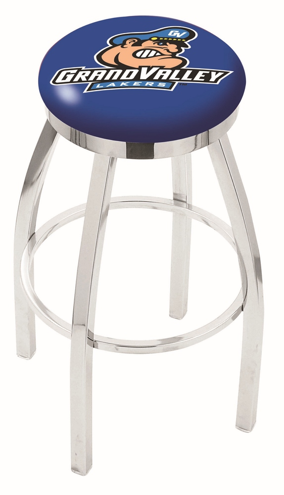 """Grand Valley State Lakers (L8C2C) 30"""" Tall Logo Bar Stool by Holland Bar Stool Company (with Single Ring Swivel Chrome Solid Welded Base)"""