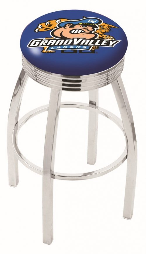 """Grand Valley State Lakers (L8C3C) 25"""" Tall Logo Bar Stool by Holland Bar Stool Company (with Single Ring Swivel Chrome Solid Welded Base)"""
