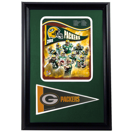 "Green Bay Packers 2008 Photograph with Team Pennant in a 12"" x 18"" Deluxe Frame"