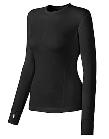 Hanes KMC3 Duofold Varitherm Mid-Weight Womens Long-Sleeve Base-Layer Shirt Size Medium Black