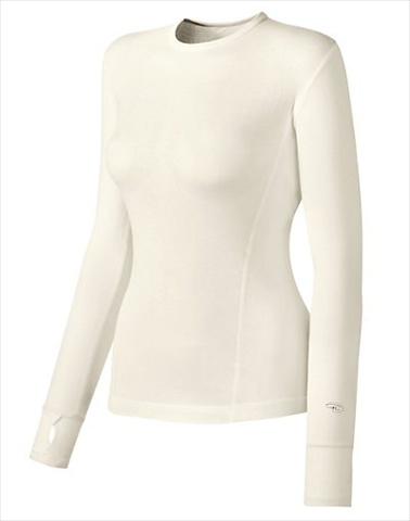 Hanes KMC3 Duofold Varitherm Mid-Weight Womens Long-Sleeve Base-Layer Shirt Size Medium Pearl