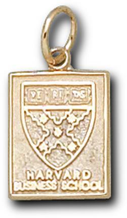 "Harvard Crimson ""Business School Square Shield"" 1/2"" Charm - 10KT Gold Jewelry"