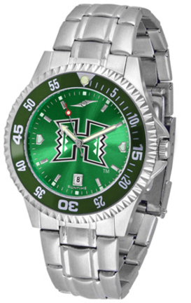 Hawaii Rainbow Warriors Competitor AnoChrome Men's Watch with Steel Band and Colored Bezel
