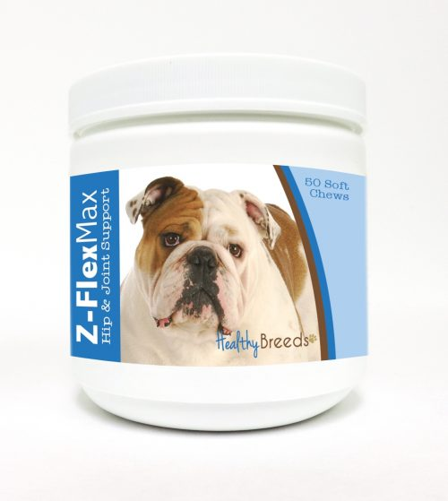Healthy Breeds 840235104025 Bulldog Z-Flex Max Hip & Joint Soft Chews 50 Count