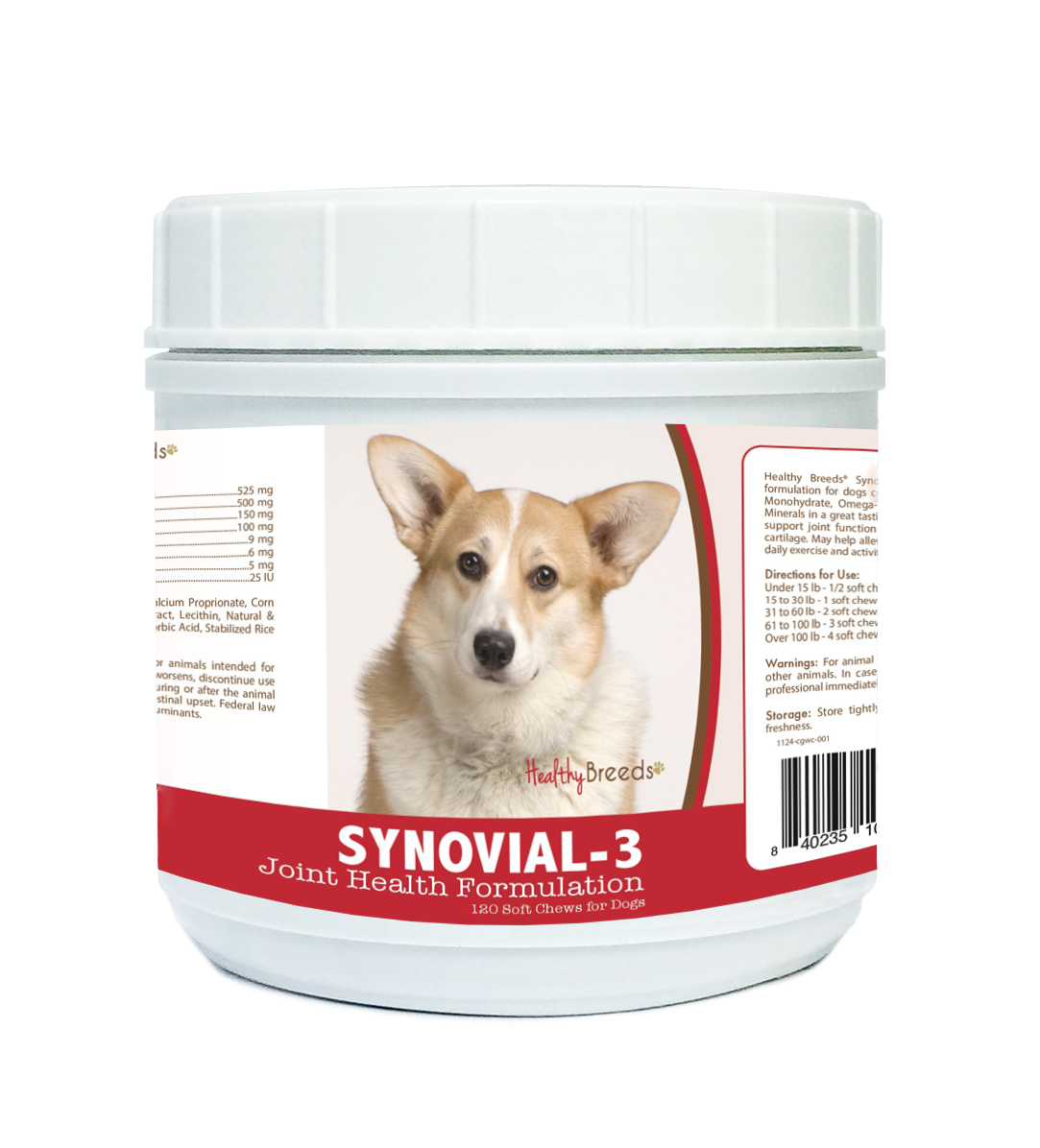 Healthy Breeds 840235104605 Cardigan Welsh Corgi Synovial-3 Joint Health Formulation 120 Count