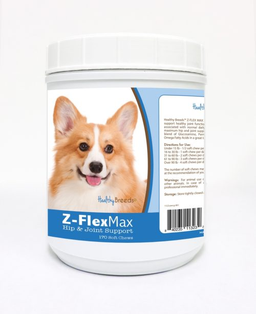 Healthy Breeds 840235113232 Pembroke Welsh Corgi Z-Flex Max Hip & Joint Soft Chews - 170 Count