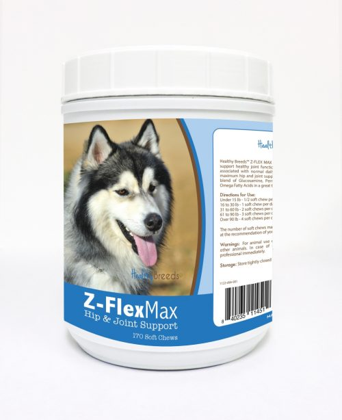 Healthy Breeds 840235114512 Siberian Husky Z-Flex Max Hip & Joint Soft Chews - 170 Count