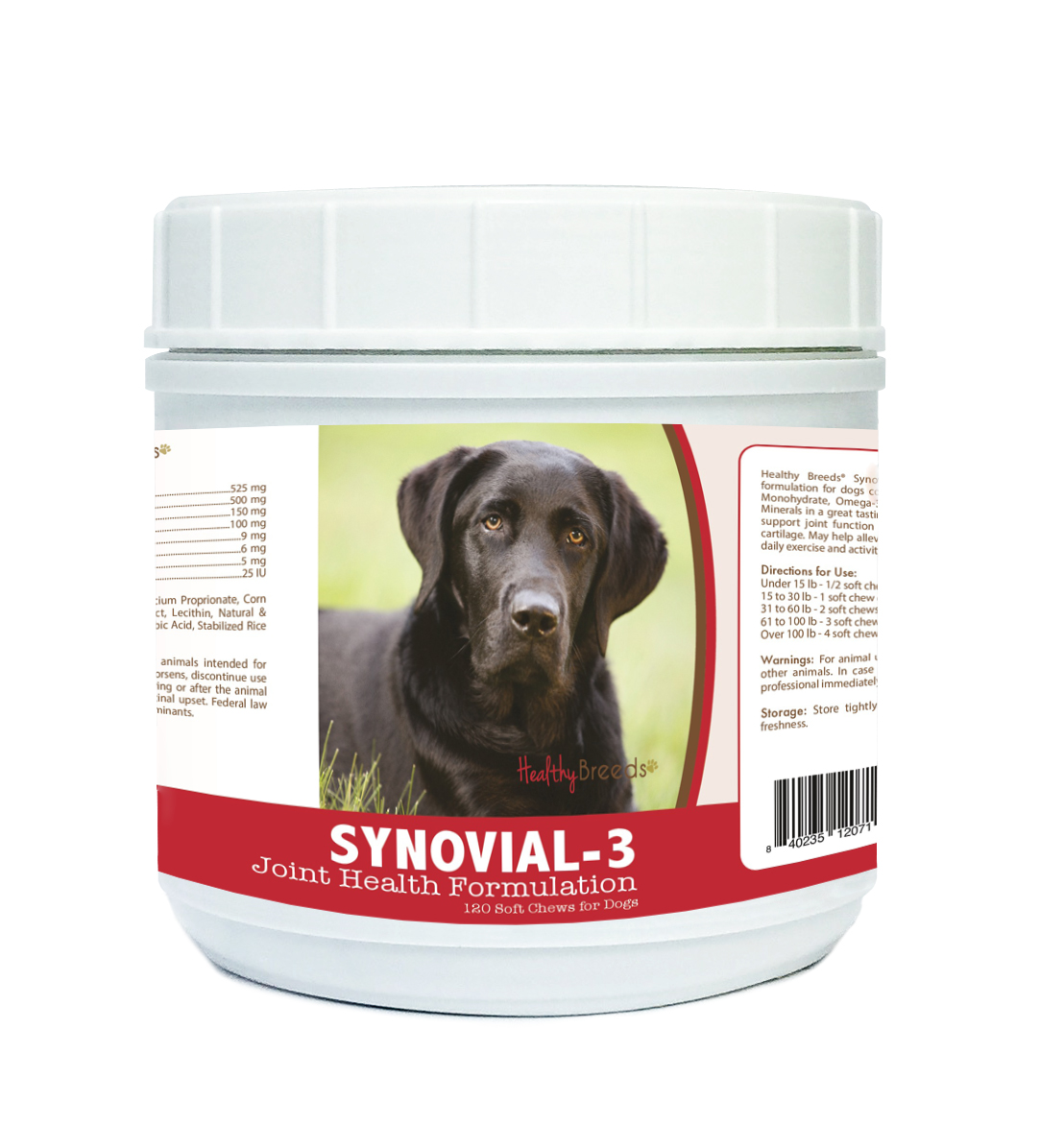 Healthy Breeds 840235120711 Labrador Retriever Synovial-3 Joint Health Formulation - 120 Count