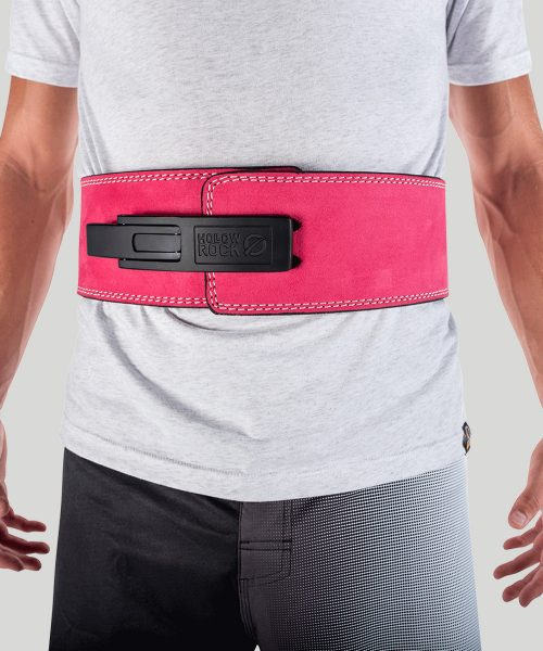 HollowRock Gear ACLB028S 35 in. Platinum 7 mm Weight Lifting Lever Belt Pink - Small