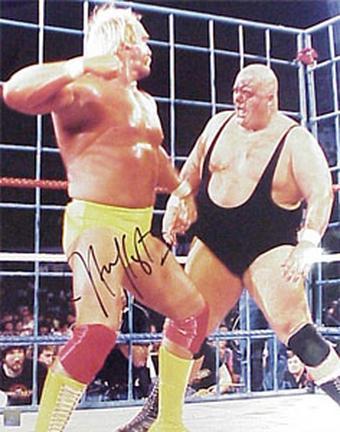 "Hulk Hogan Autographed ""vs. King Kong Bundy"" 8"" x 10"" Photograph (Unframed)"