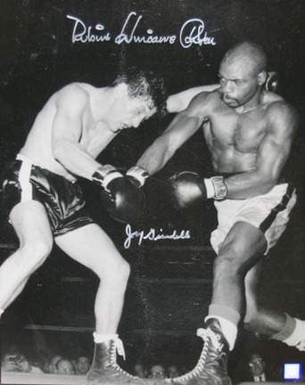 """Hurricane Carter and Joey Giardello Autographed 16"""" x 20"""" Photograph (Unframed)"""