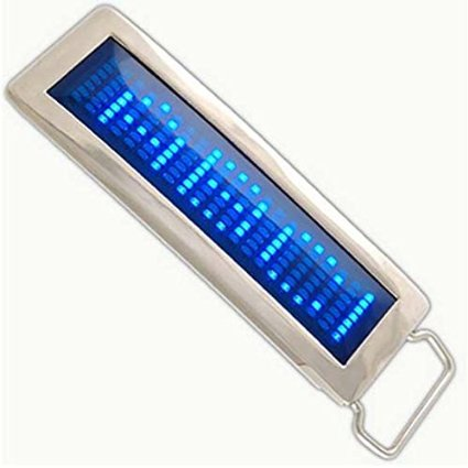 IKKEGOL 30331 Programmable Blue DIY Text Flash LED Chrome Scrolling Belt Buckle Disc Party Blue