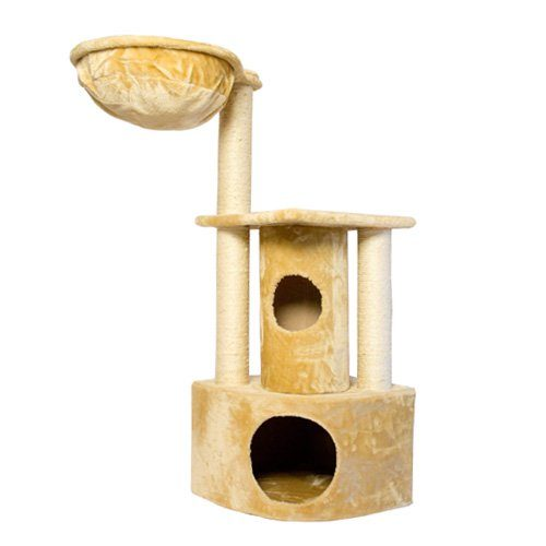 Iconic Pet 51521 Peek-a-boo Cat Tree with Sisal Scratching Posts - Beige