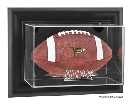 Illinois Fighting Illini Black Framed Wall Mountable Logo Football Display Case