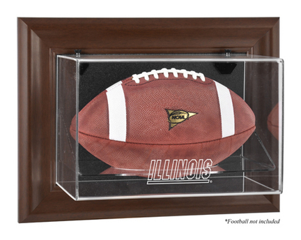 Illinois Fighting Illini Brown Framed Wall Mountable Logo Football Display Case