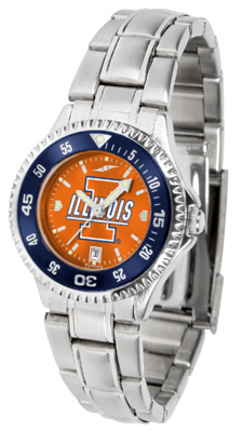 Illinois Fighting Illini Competitor AnoChrome Ladies Watch with Steel Band and Colored Bezel