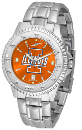 Illinois Fighting Illini Competitor AnoChrome Men's Watch with Steel Band