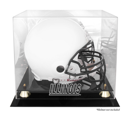 Illinois Fighting Illini Golden Classic Logo Football Helmet Display Case with Mirror Back
