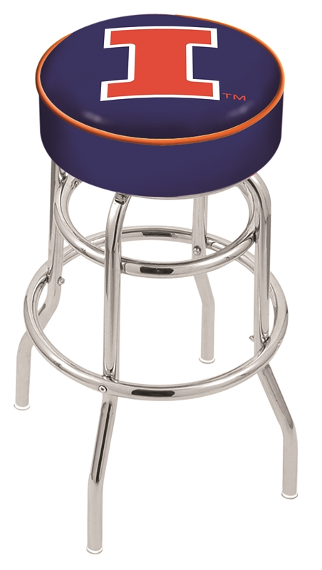 "Illinois Fighting Illini (L7C1) 25"" Tall Logo Bar Stool by Holland Bar Stool Company (with Double Ring Swivel Chrome Base)"