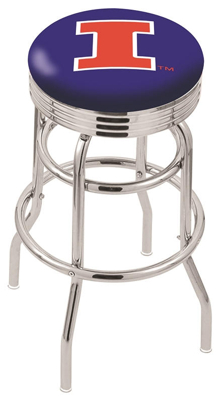 "Illinois Fighting Illini (L7C3C) 30"" Tall Logo Bar Stool by Holland Bar Stool Company (with Double Ring Swivel Chrome Base)"