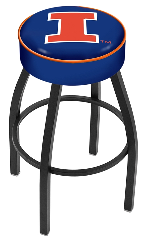 "Illinois Fighting Illini (L8B1) 30"" Tall Logo Bar Stool by Holland Bar Stool Company (with Single Ring Swivel Black Solid Welded Base)"