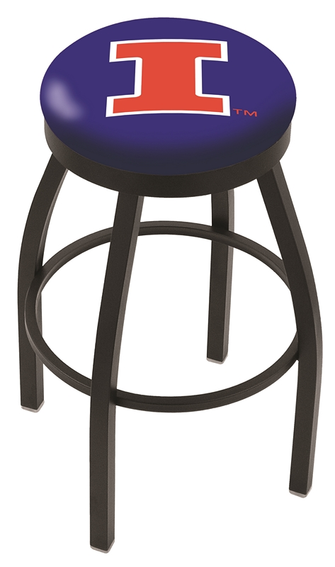 "Illinois Fighting Illini (L8B2B) 25"" Tall Logo Bar Stool by Holland Bar Stool Company (with Single Ring Swivel Black Solid Welded Base)"