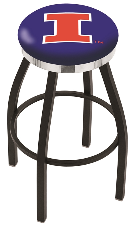 "Illinois Fighting Illini (L8B2C) 25"" Tall Logo Bar Stool by Holland Bar Stool Company (with Single Ring Swivel Black Solid Welded Base)"