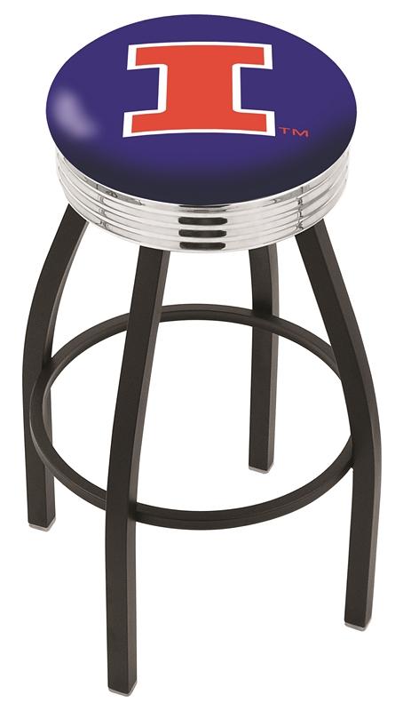 "Illinois Fighting Illini (L8B3C) 25"" Tall Logo Bar Stool by Holland Bar Stool Company (with Single Ring Swivel Black Solid Welded Base)"