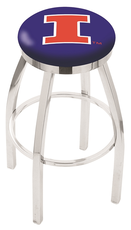 """Illinois Fighting Illini (L8C2C) 25"""" Tall Logo Bar Stool by Holland Bar Stool Company (with Single Ring Swivel Chrome Solid Welded Base)"""